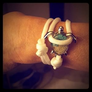 White Rope Teal Turquoise Sand Sea Turtle Bracelet